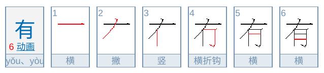 有の中国語の書き順、筆順