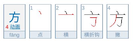 方の中国語の書き順、筆順