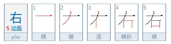右の中国語の書き順、筆順